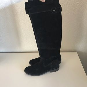 Frye black Suede Tall Boots with side Zipper
